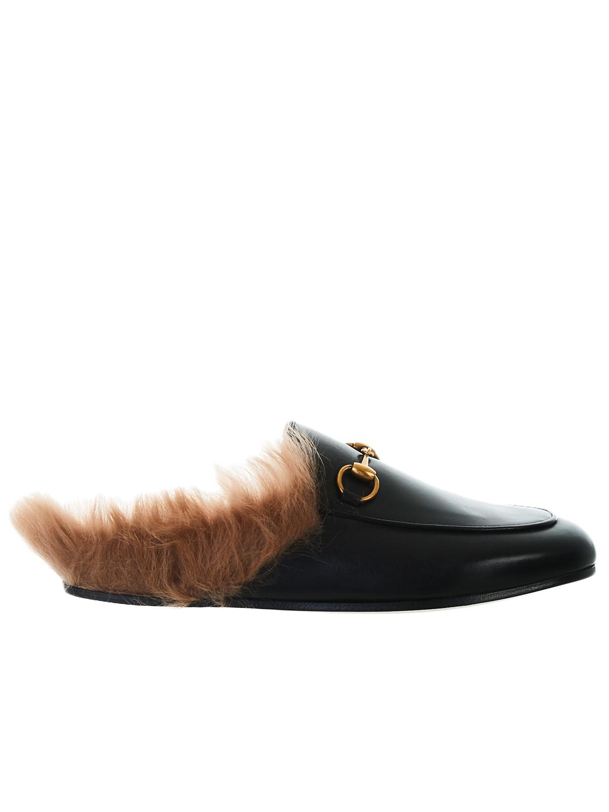 ed446f512ac Lyst - Gucci Leather Princetown Mules in Black - Save 26%