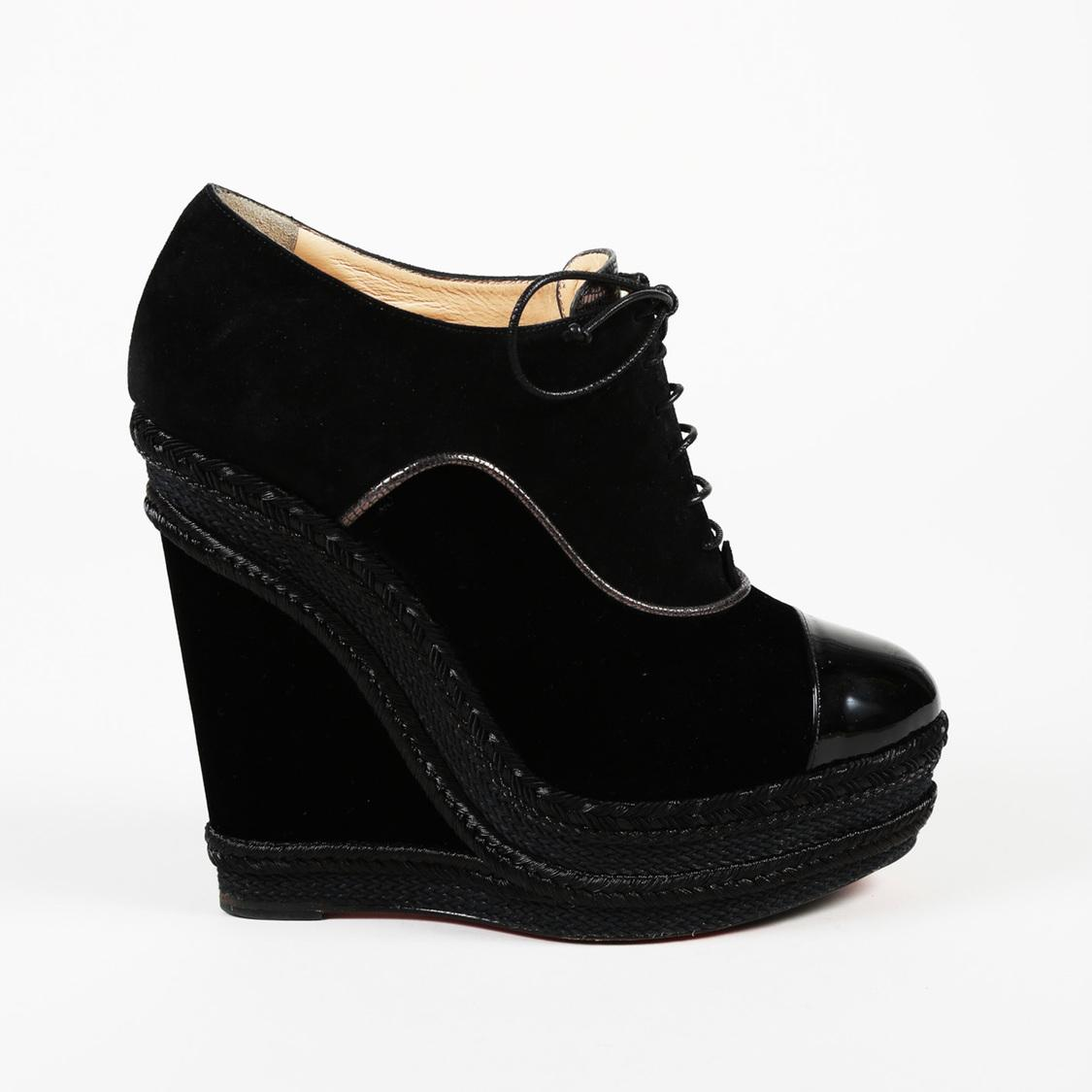 59f8e1a8356 Christian Louboutin Ml 140 Suede Brogue Wedge Booties in Black - Lyst