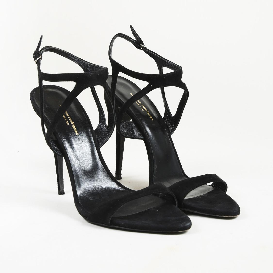 886753ece2f46 Narciso Rodriguez Black Suede Strappy Sandals in Black - Lyst