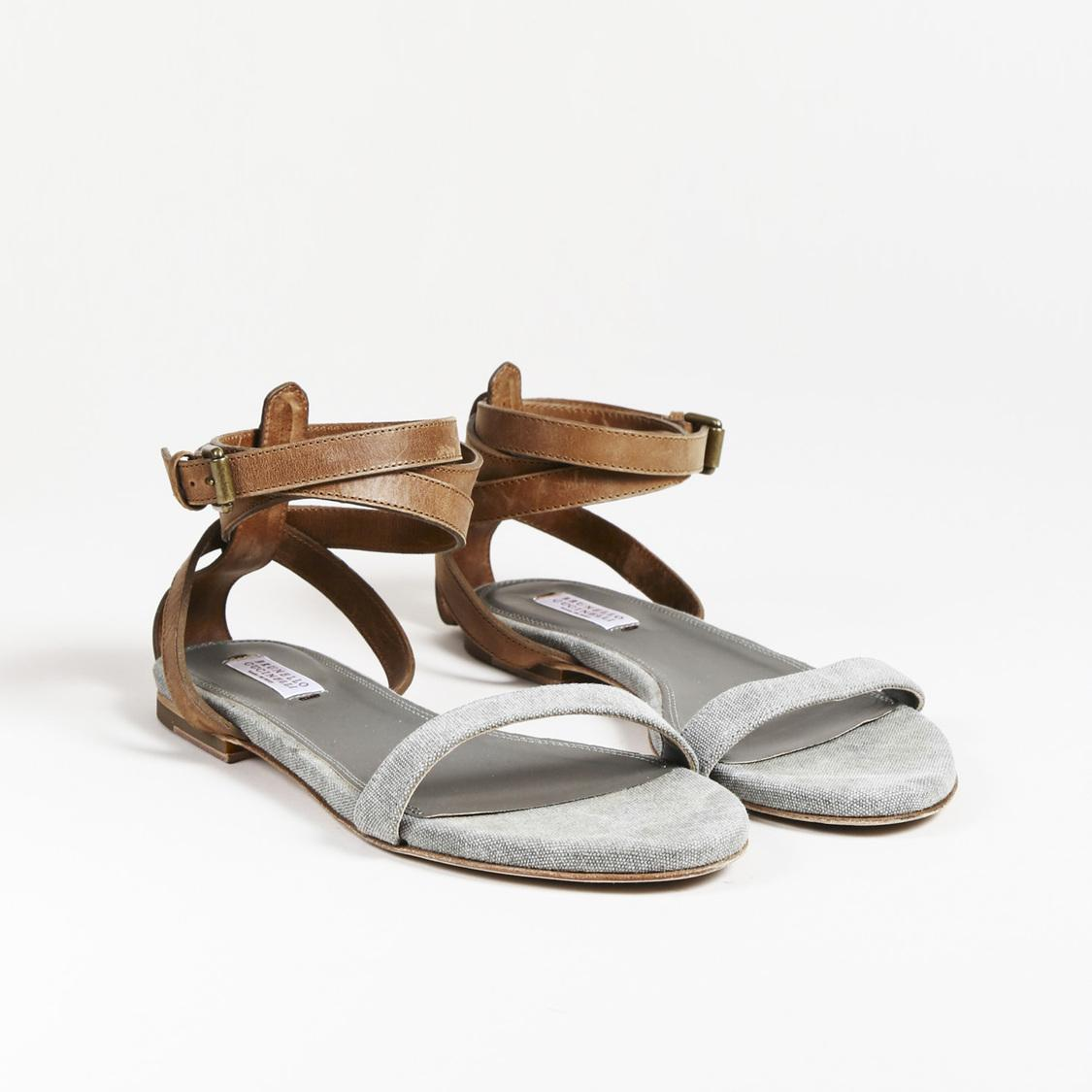 628033041e9 Brunello Cucinelli. Women s Gray   Brown Canvas   Leather Ankle Wrap Sandals