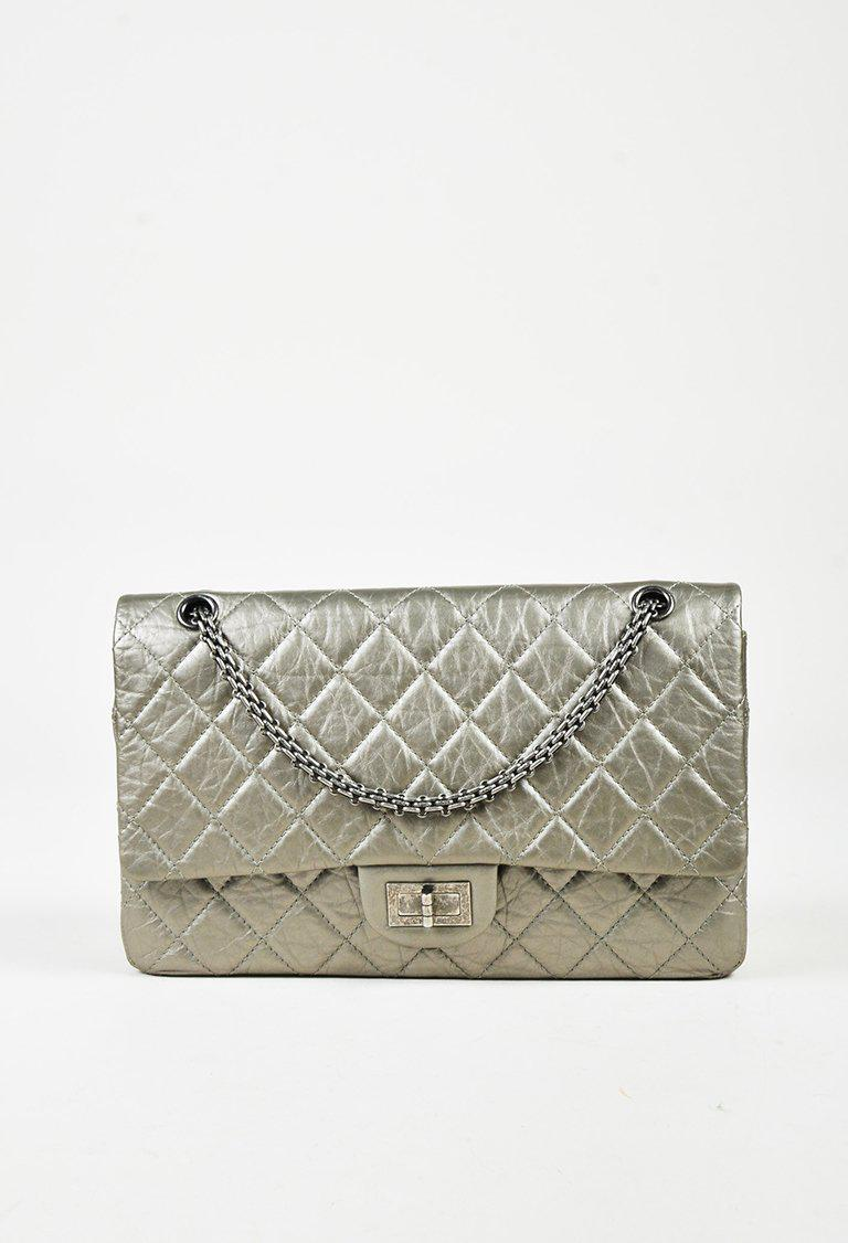2f302c0ea2d08c Chanel Gray Quilted Distressed Calfskin