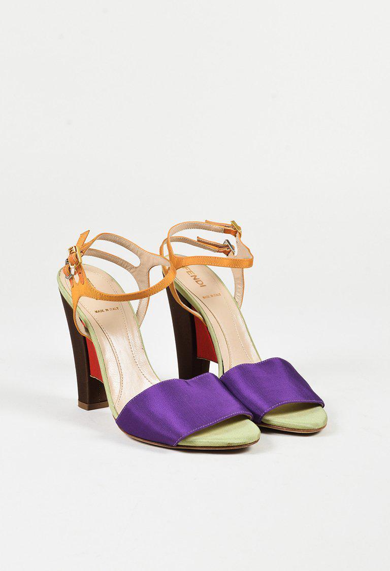 90f6f9c88a75a Lyst - Fendi Multicolor Grosgrain Open Toe Ankle Strap Sandals