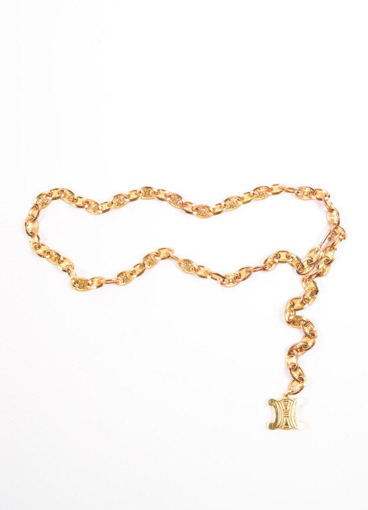 ff8ac3c09d86a Céline Gold Toned Chain Link Logo Belt in Metallic - Lyst