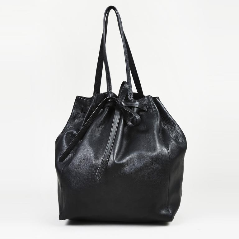 77ec4eaa8549 Lyst - Céline Cabas Phantom Black Leather Handbag in Black - Save 7%