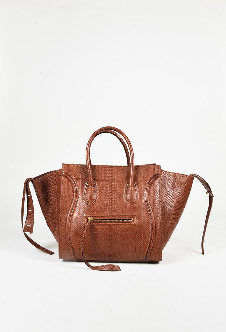 736677e169 Lyst - Céline Luggage Phantom Chestnut Full Python in Brown