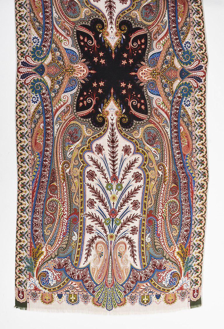 bfe14d7fd8346 Etro Multicolor Cashmere & Silk Paisley Print Fringe Trim Scarf - Lyst