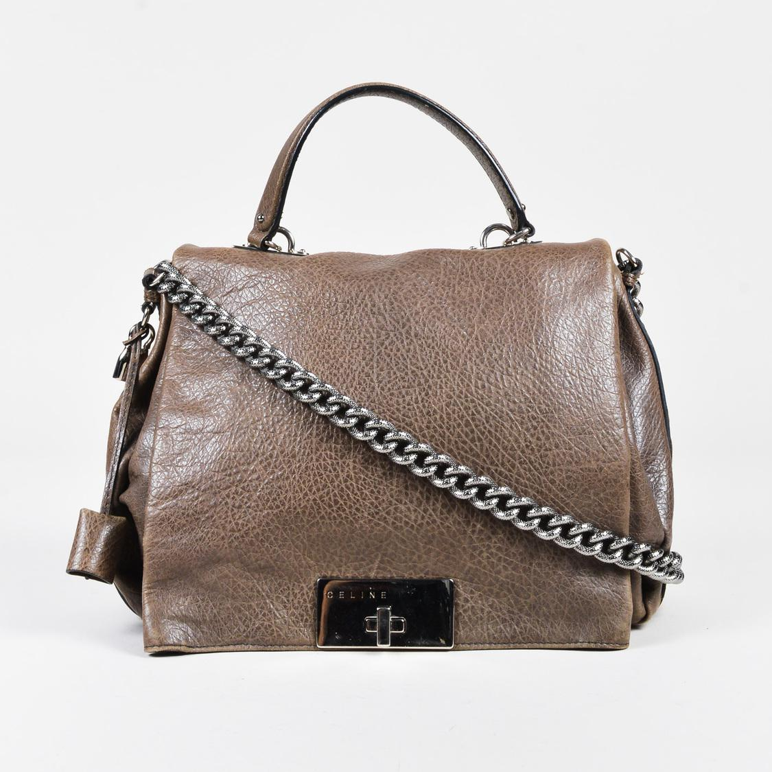 a14a683128d Céline. Women s Brown Pebbled Leather Silver Tone Chain Link