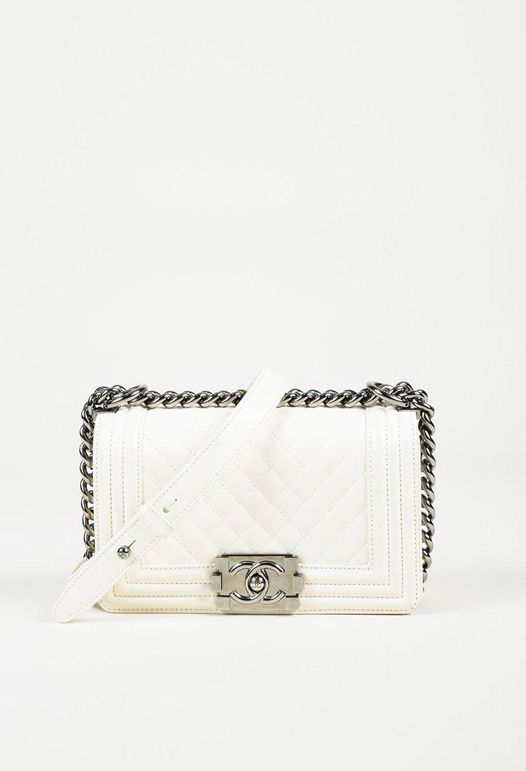 4c0268c4d9e4 Lyst Chanel White Lambskin Leather Chevron Quilted Small Boy. Chanel Boy Flap  Bag ...