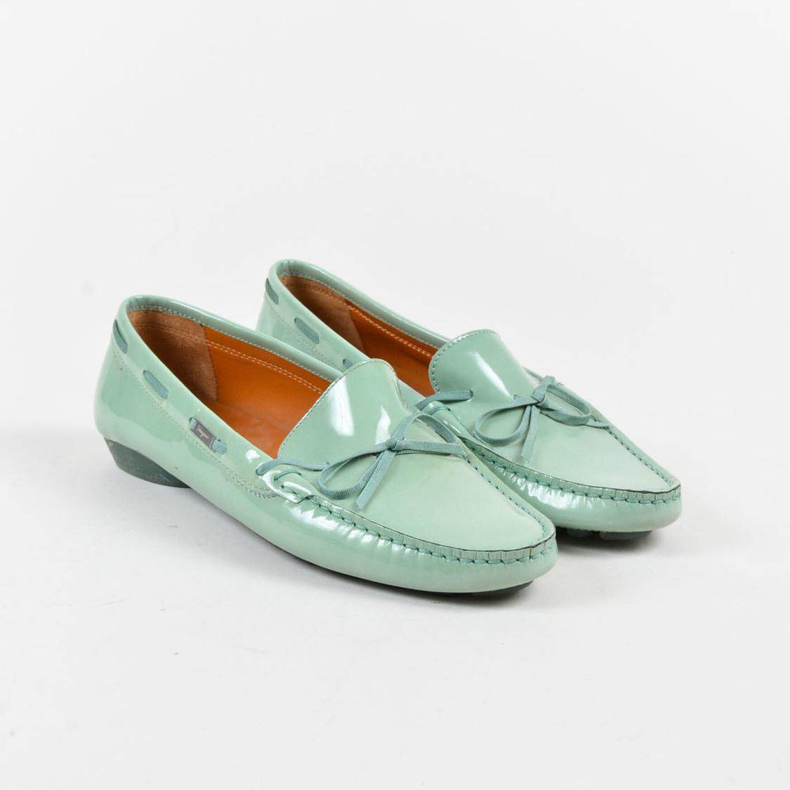 82309c97e339 Ferragamo Two Tone Green Patent Leather Loafers in Green - Lyst