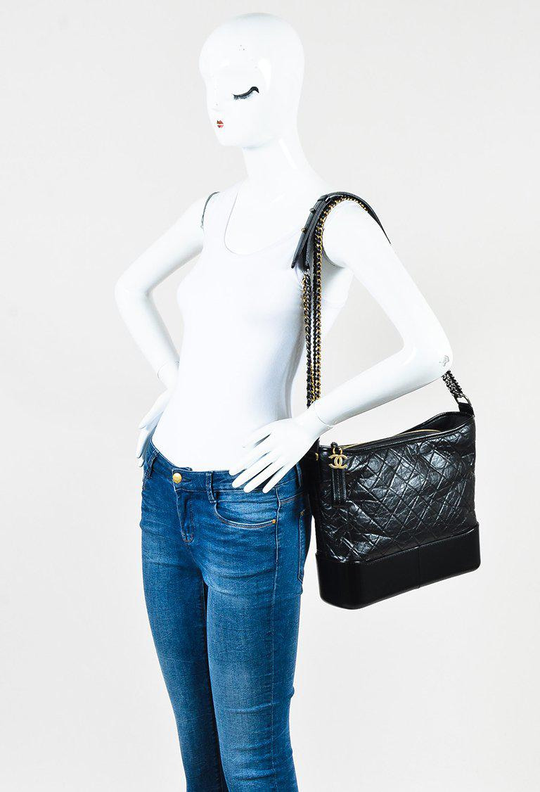 b790407e732d Chanel Black Quilted Aged Calfskin Leather