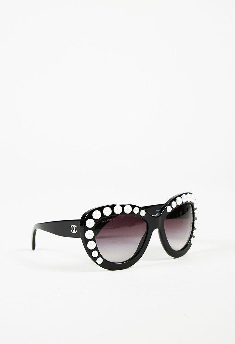 Chanel Black & White Faux Pearl Studded Oversize Cat Eye Sunglasses ...