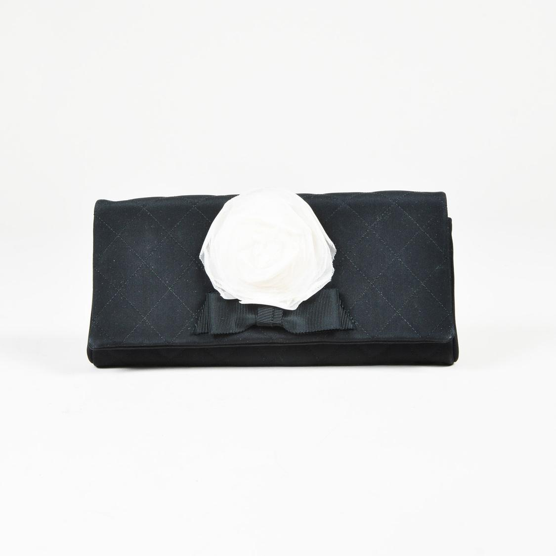 d7ef38177625 Lyst Chanel Black Quilted Nylon White Camellia Flower Clutch Bag