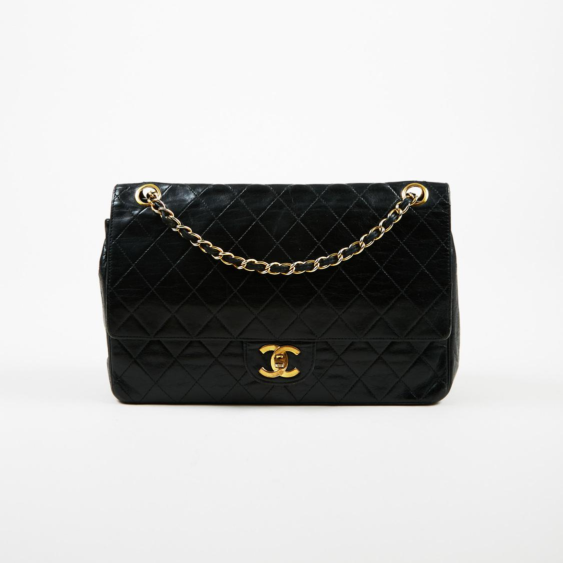 138c66643f2 Chanel Vintage Classic Double Flap Medium Quilted Lambskin Leather ...