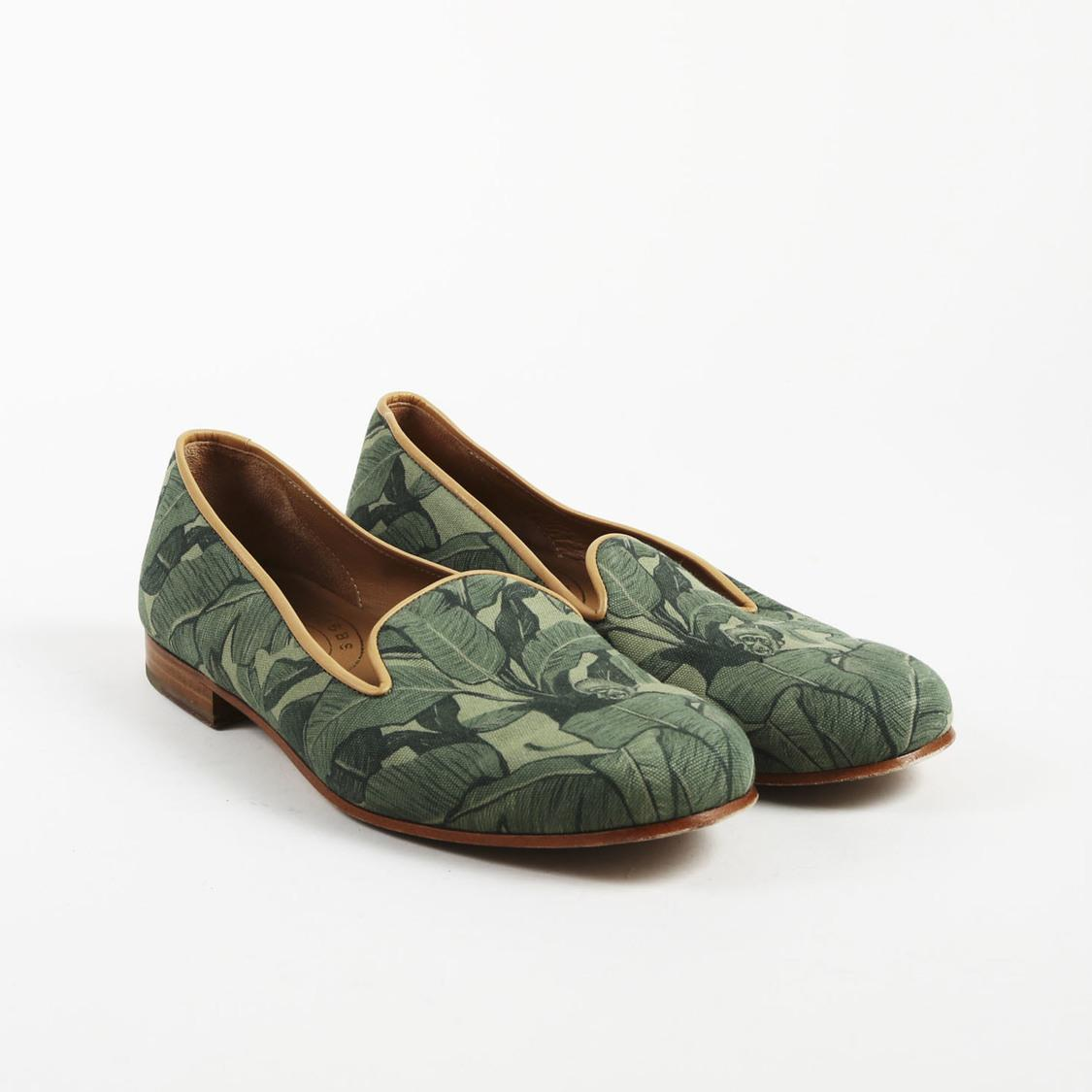 8c924cd7108 Lyst - Stubbs   Wootton Mens Green Canvas Palm Print Loafers in Green