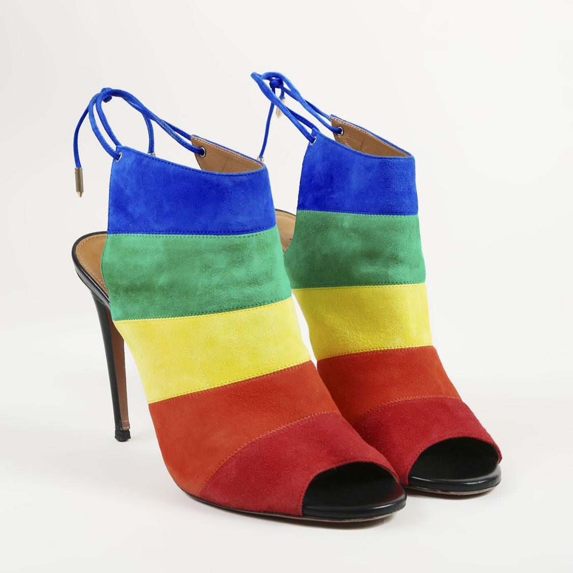 845c9019ac7 Aquazzura Multicolor Suede Rainbow Striped Open Toe Pumps - Lyst