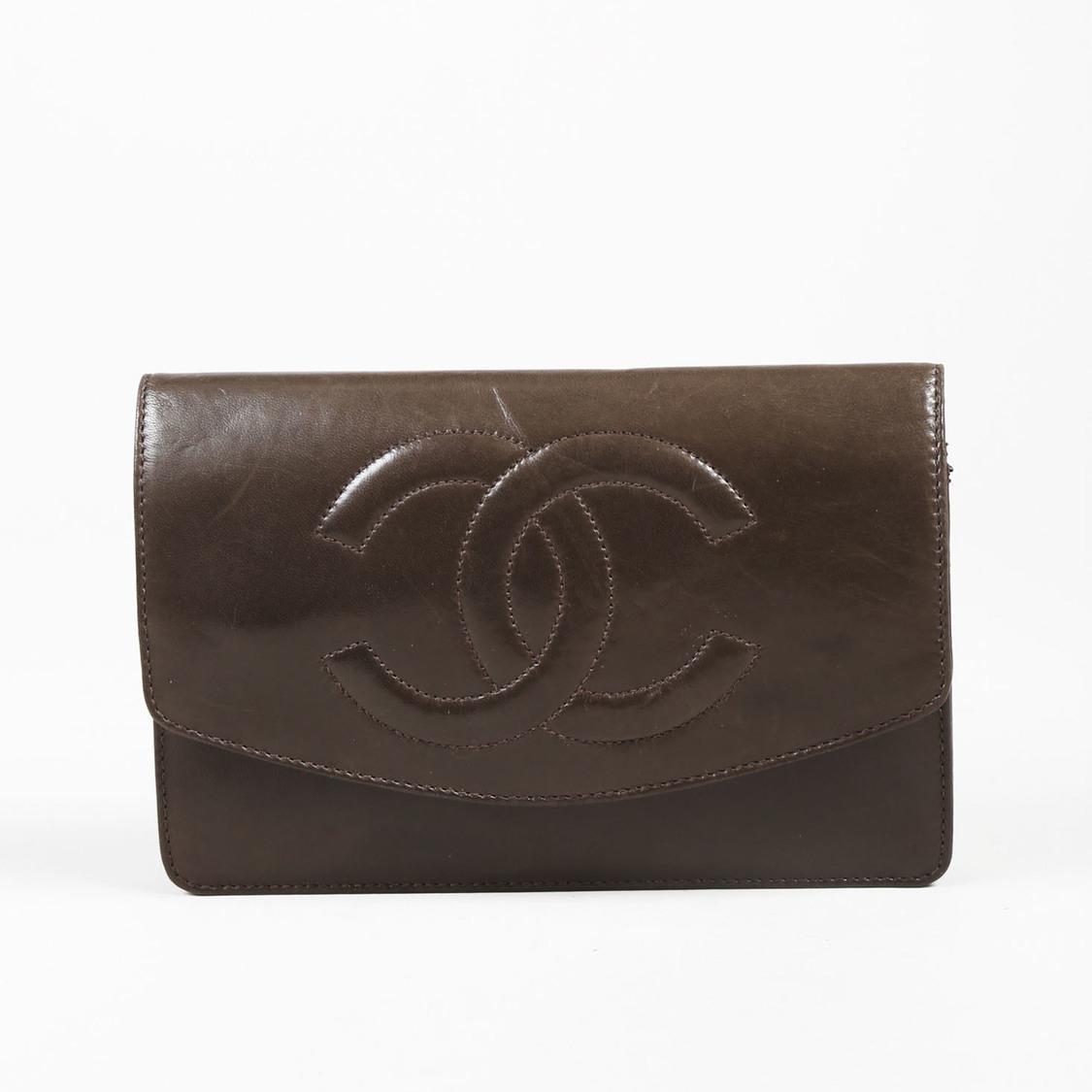 8b814c43a04edd Chanel Vintage Brown Lambskin Leather