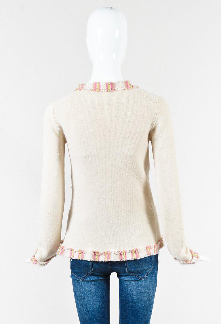 cbcaa4c019e37 Lyst - Chanel Cream Pink   Yellow Cashmere Striped Fringe Cardigan ...