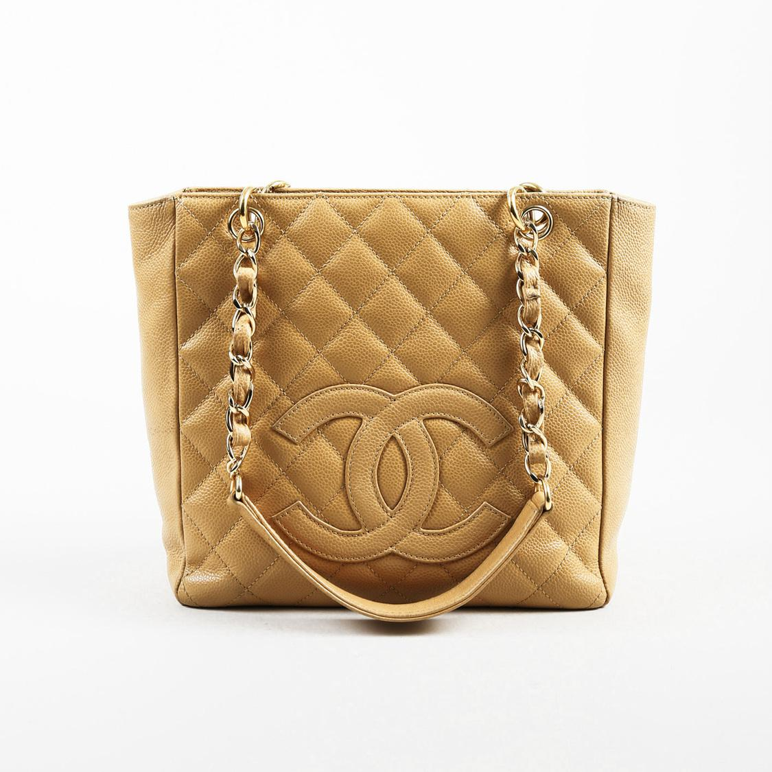 1f730d316 Chanel Tan Quilted Caviar Leather Chain Link Petite Shopping Tote ...