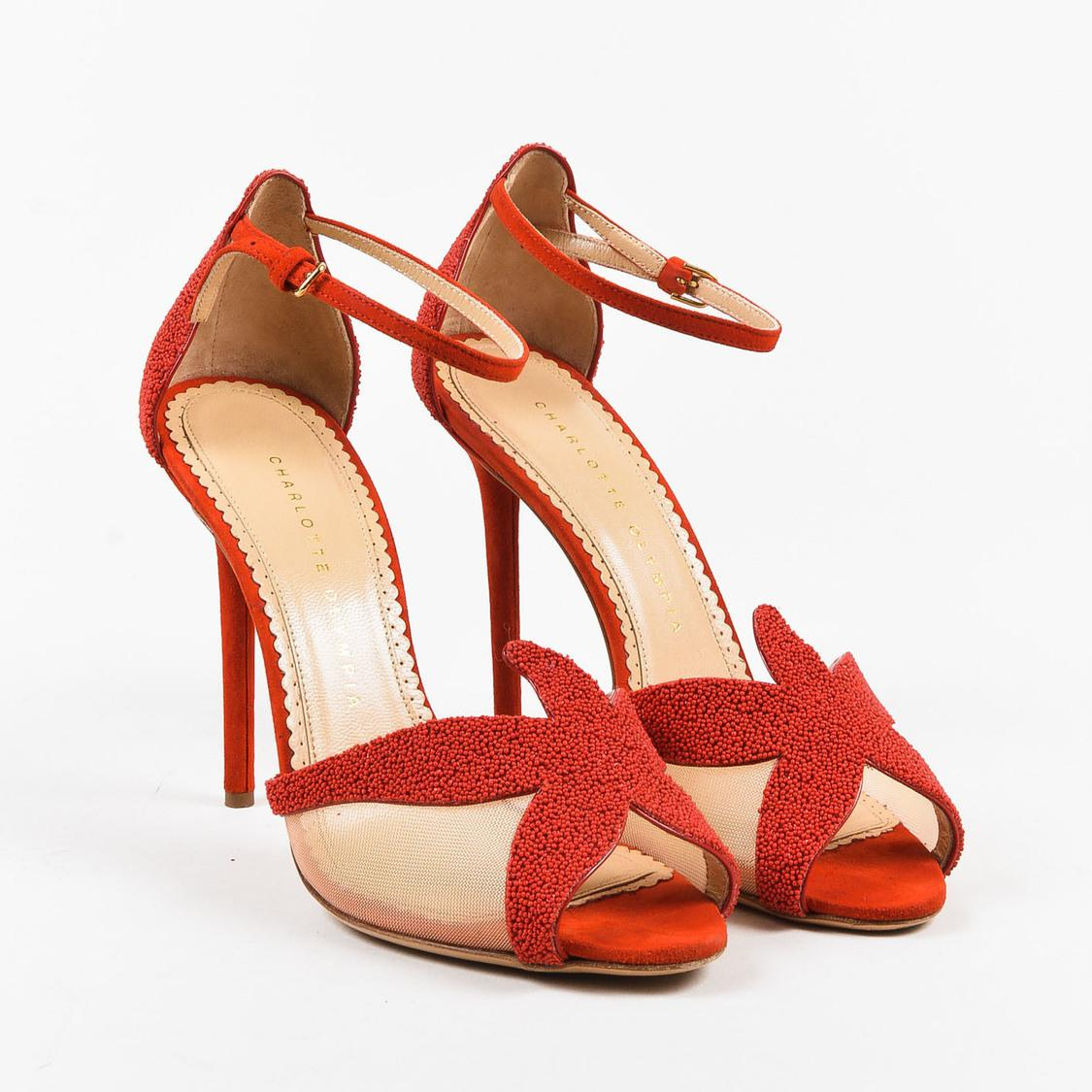 c627e7721 Lyst - Charlotte Olympia Red Embellished Suede