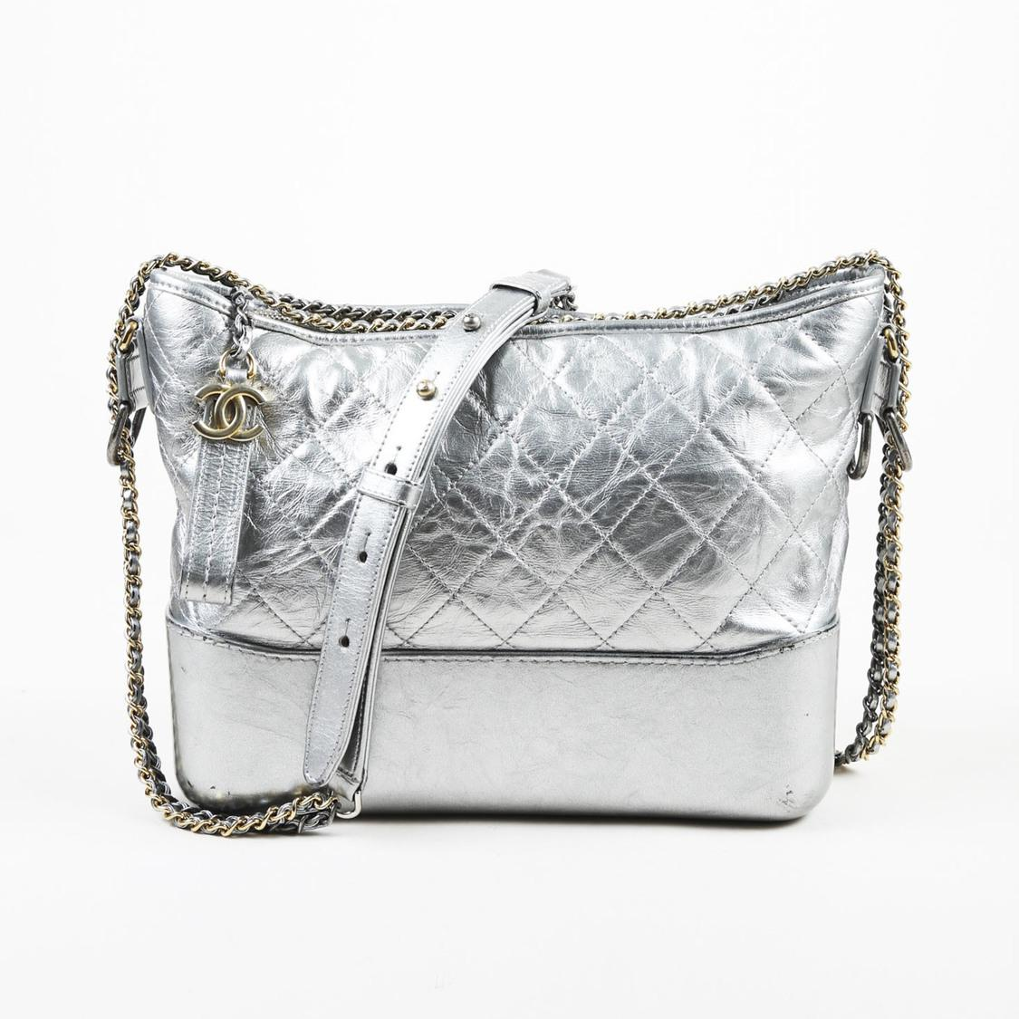 cc687d543e17 Chanel. Women's Metallic Silver Lambskin Medium