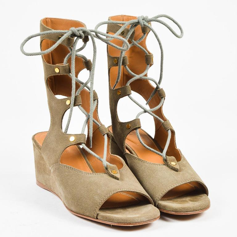 b4024d802de Chloé. Women s Green Olive Suede Lace Up Peep Toe 50mm Wedge Gladiator  Sandals