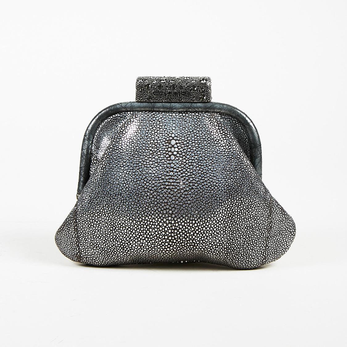 Lyst - Chanel Metallic Silver Stingray Embellished Top Frame Clutch ... b2f7abd7b2cd6