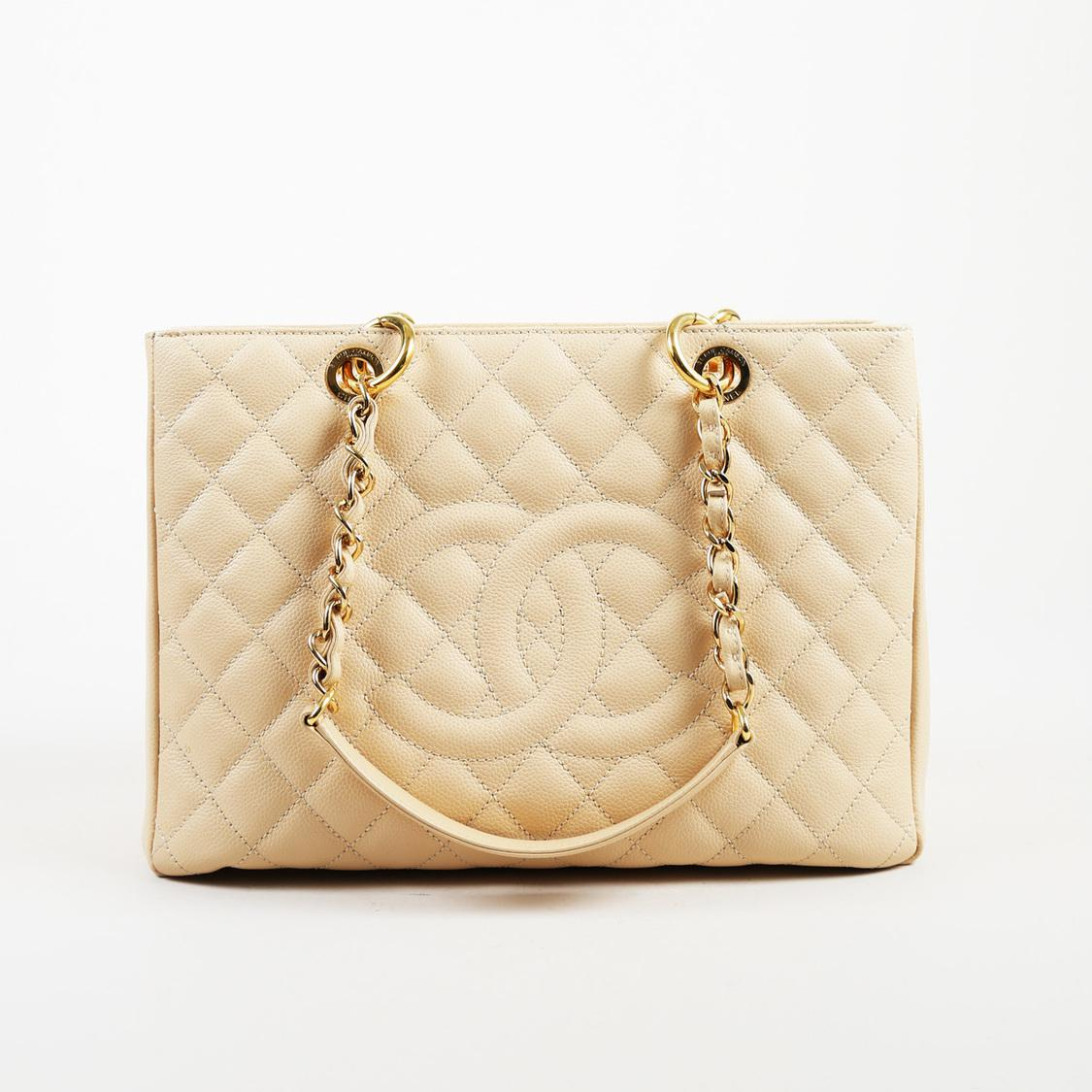 Lyst - Chanel 2010-2011 Cream Caviar Leather Quilted  cc