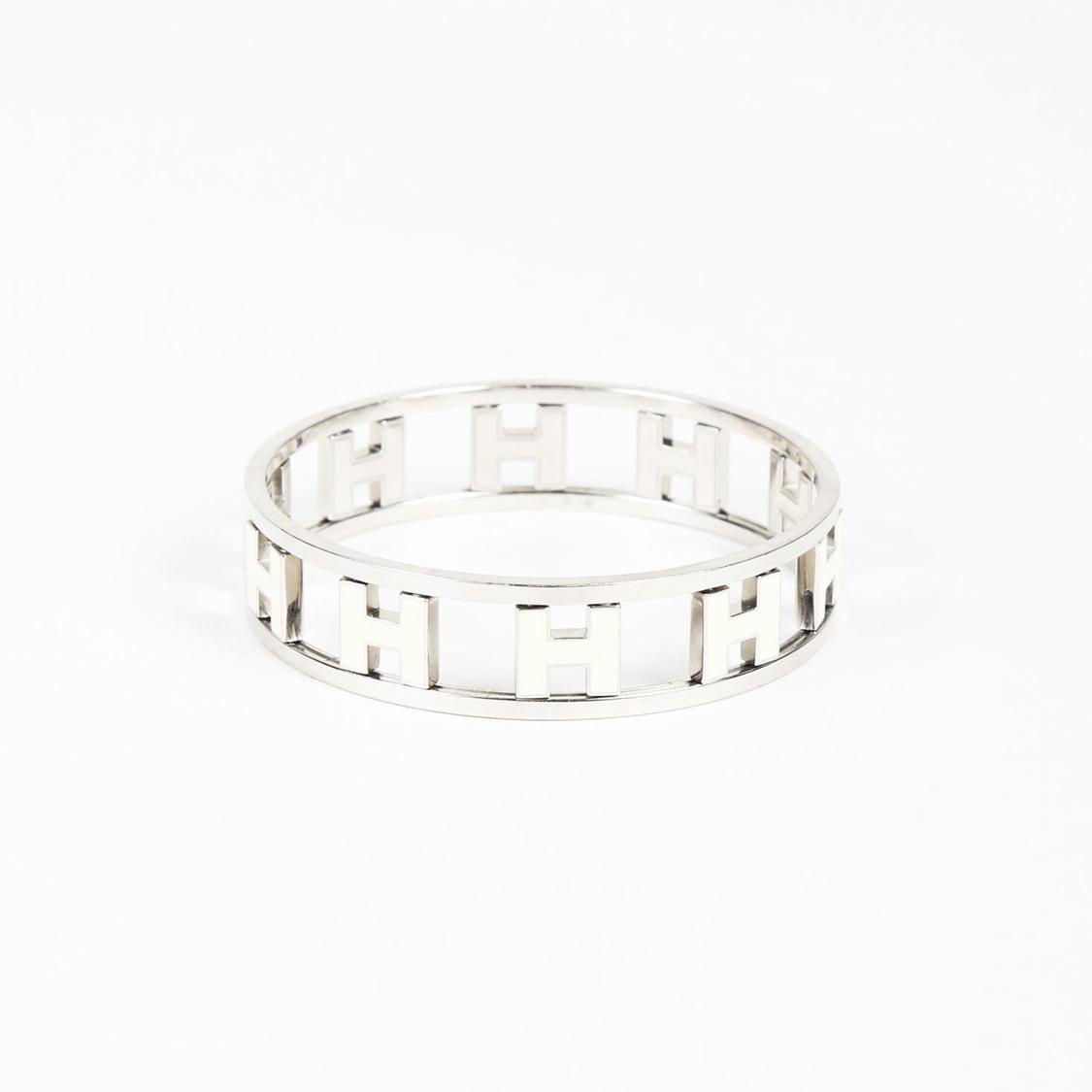 4319b3302fb Hermès Palladium Plated Enameled Reversible 'h' Bangle Bracelet in ...