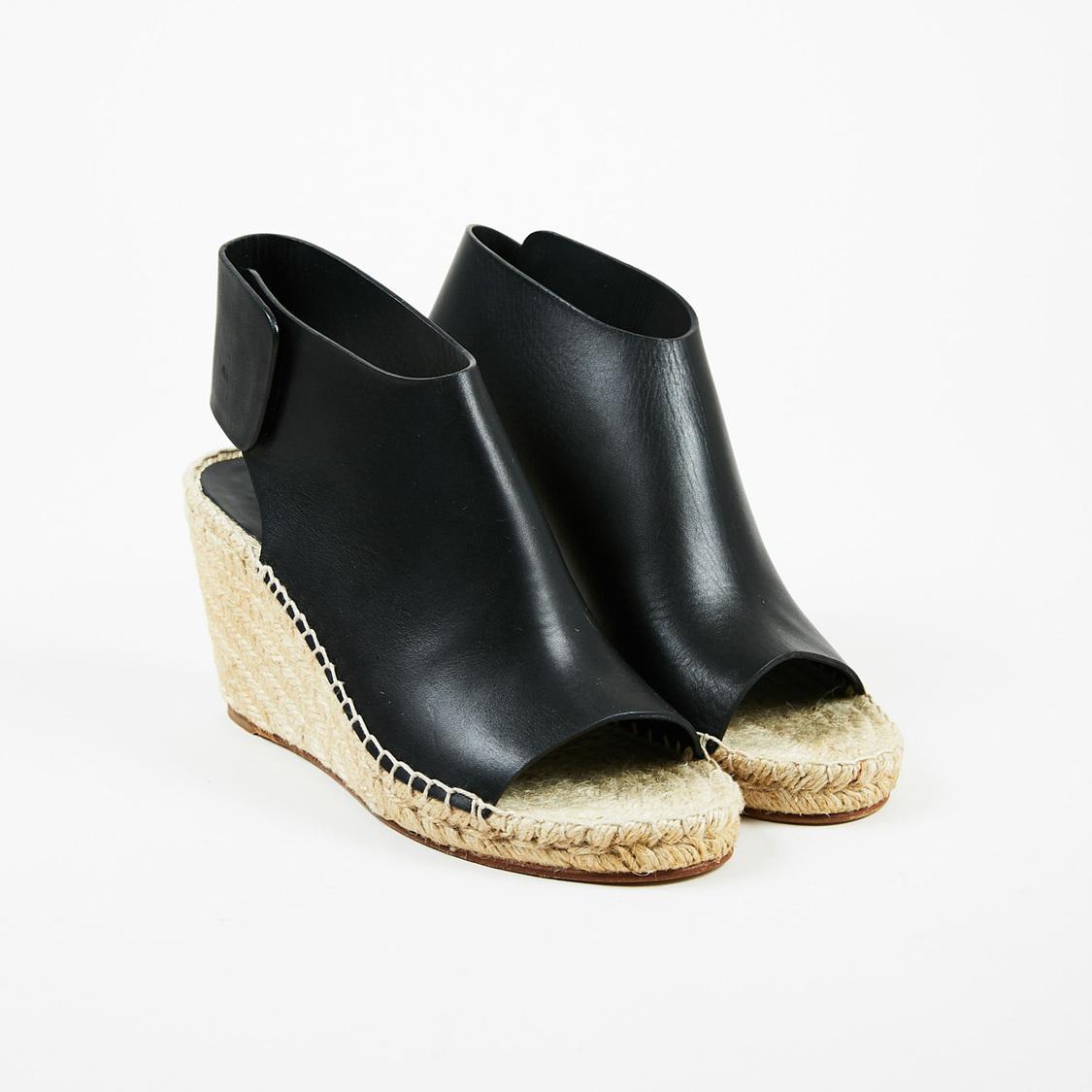 675b6cb62d4 Lyst - Céline Nwt Black Leather Peep Toe Espadrille Wedge Sandals Sz ...