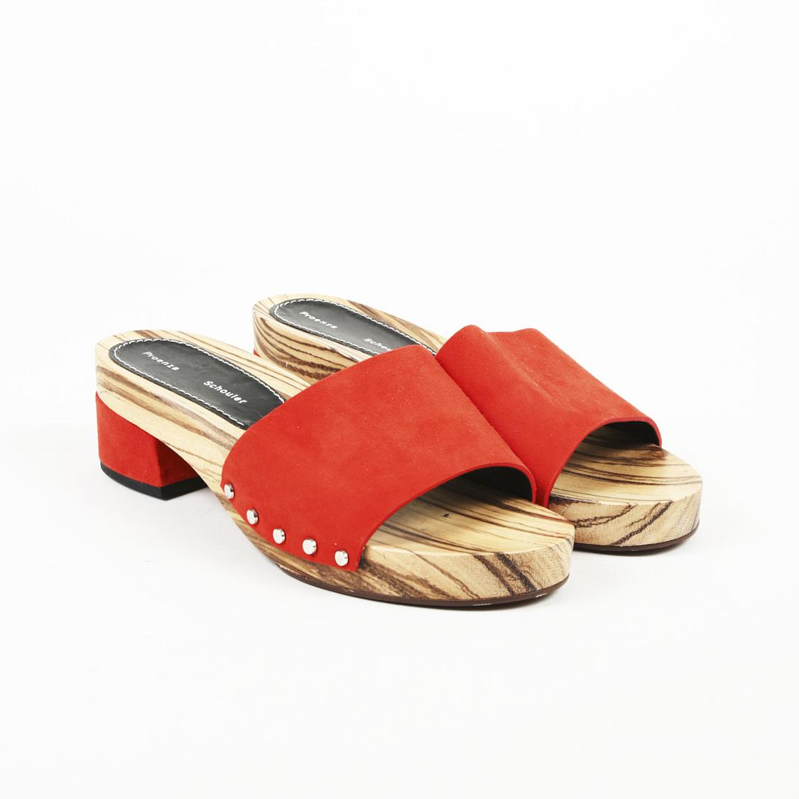 aeb7188cb7a Lyst - Proenza Schouler Suede Slide Sandals in Orange