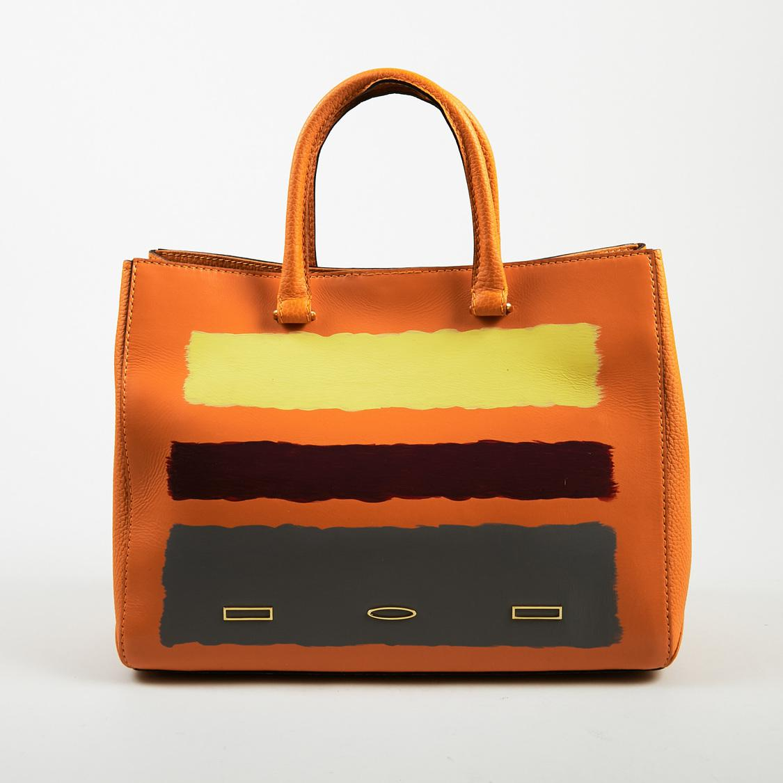 152f0ac8265 Lyst - VBH Limited Edition Orange Multicolor Leather Painted Stripe ...