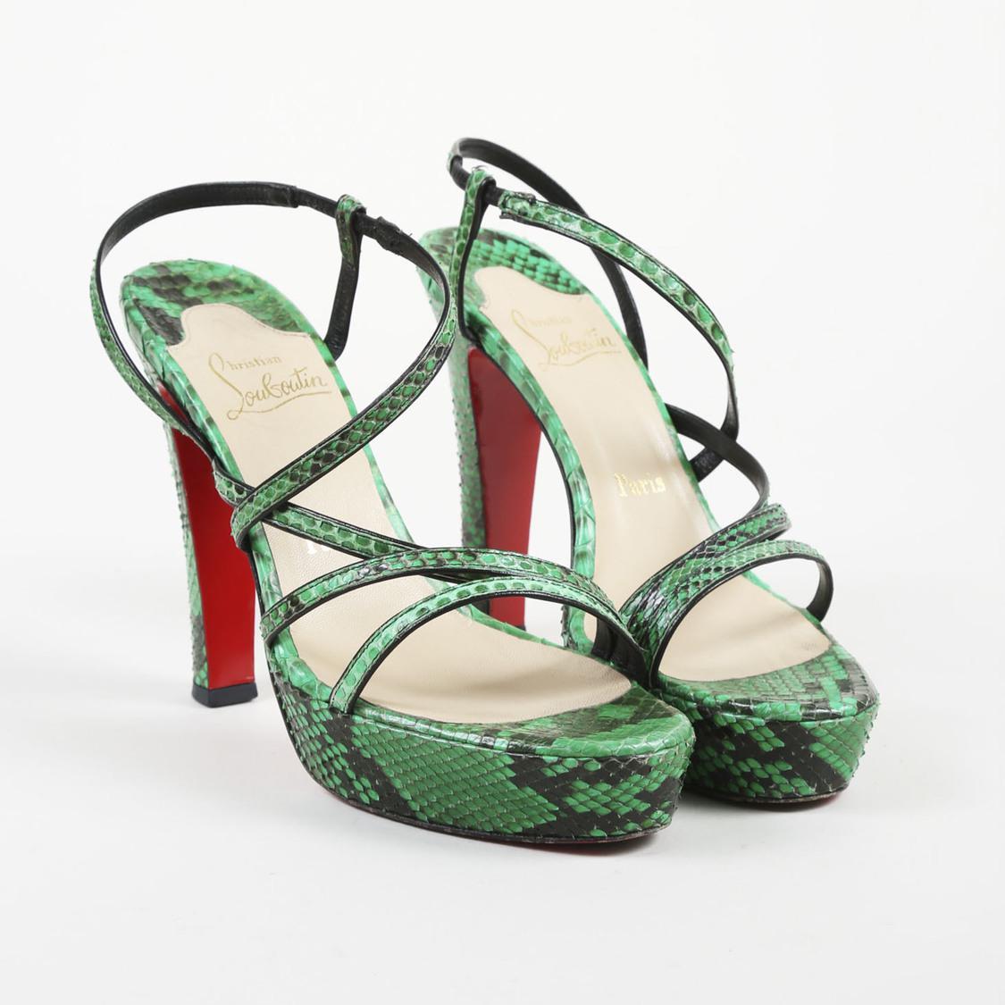 5e85bf00625 Women's Green Snakeskin Open Toe Strappy Sandals