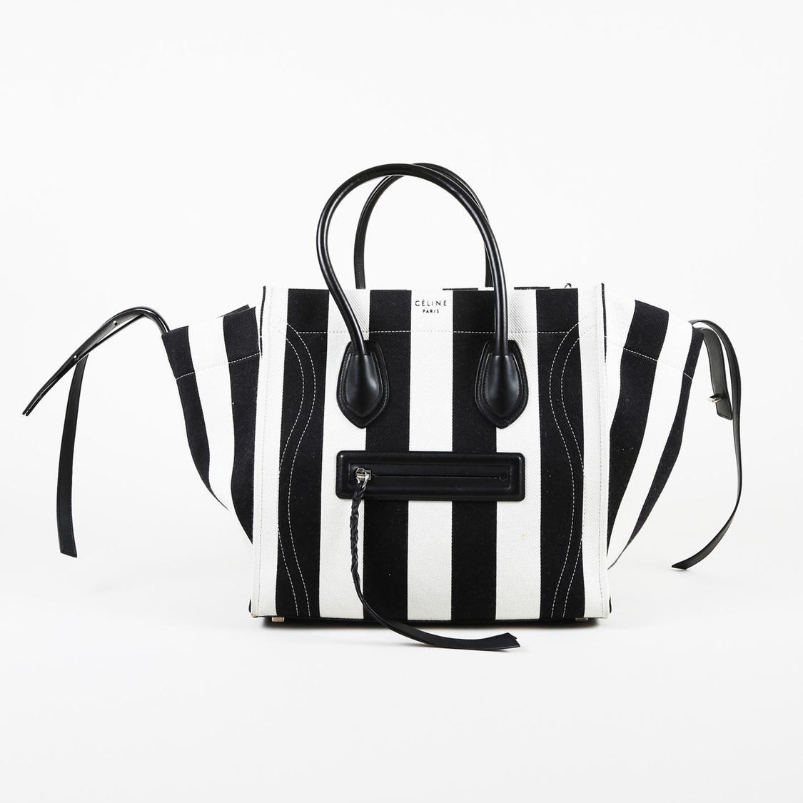 Lyst - Céline Black White Striped Canvas