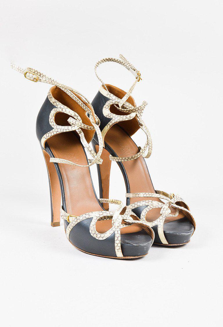 40d6296e8a9b Hermès Grey Leather Cream Snakeskin Trim Strappy High Heel Sandals ...
