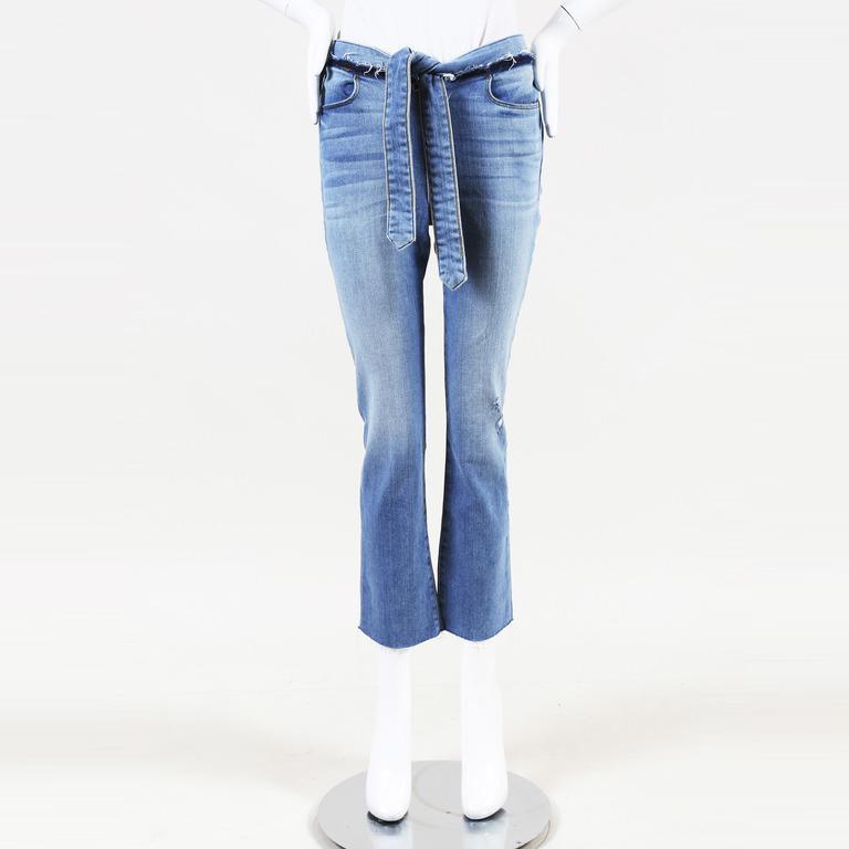 37014826c Lyst - FRAME Frayed Denim Cropped Jeans in Blue