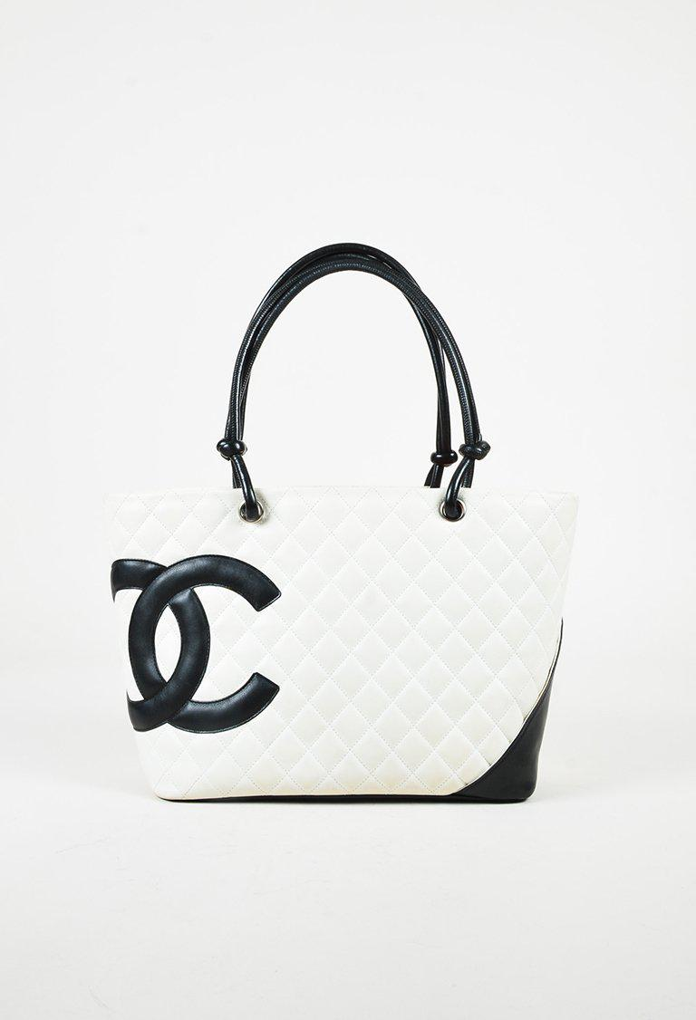 e612cfcf9665 Chanel White Black Quilted Calfskin Leather