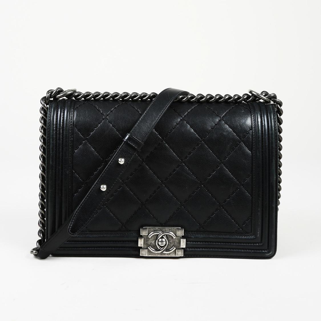 7b701370b9f9 Lyst - Chanel New Medium Double Stitch Boy Bag in Black