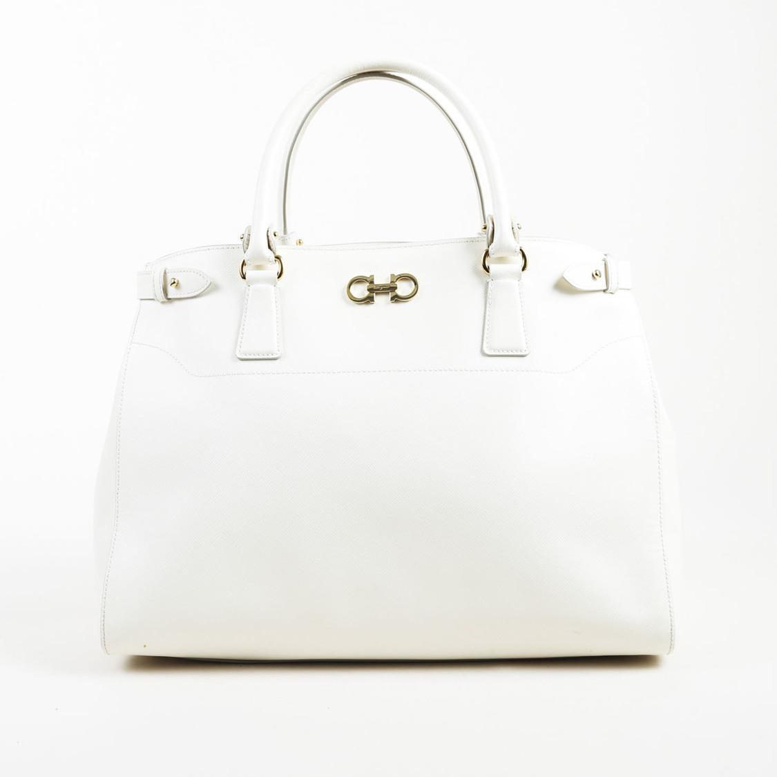 292f52b50b3f Ferragamo White Saffiano Leather Large