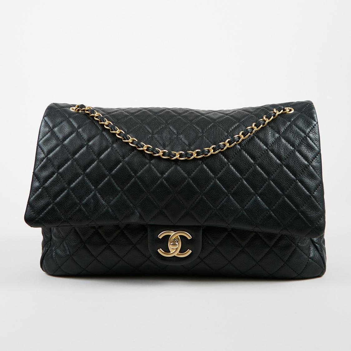 d4fdbd3a7eb0 Chanel Cruise 2017 Black Calfskin Leather Quilted Xxl