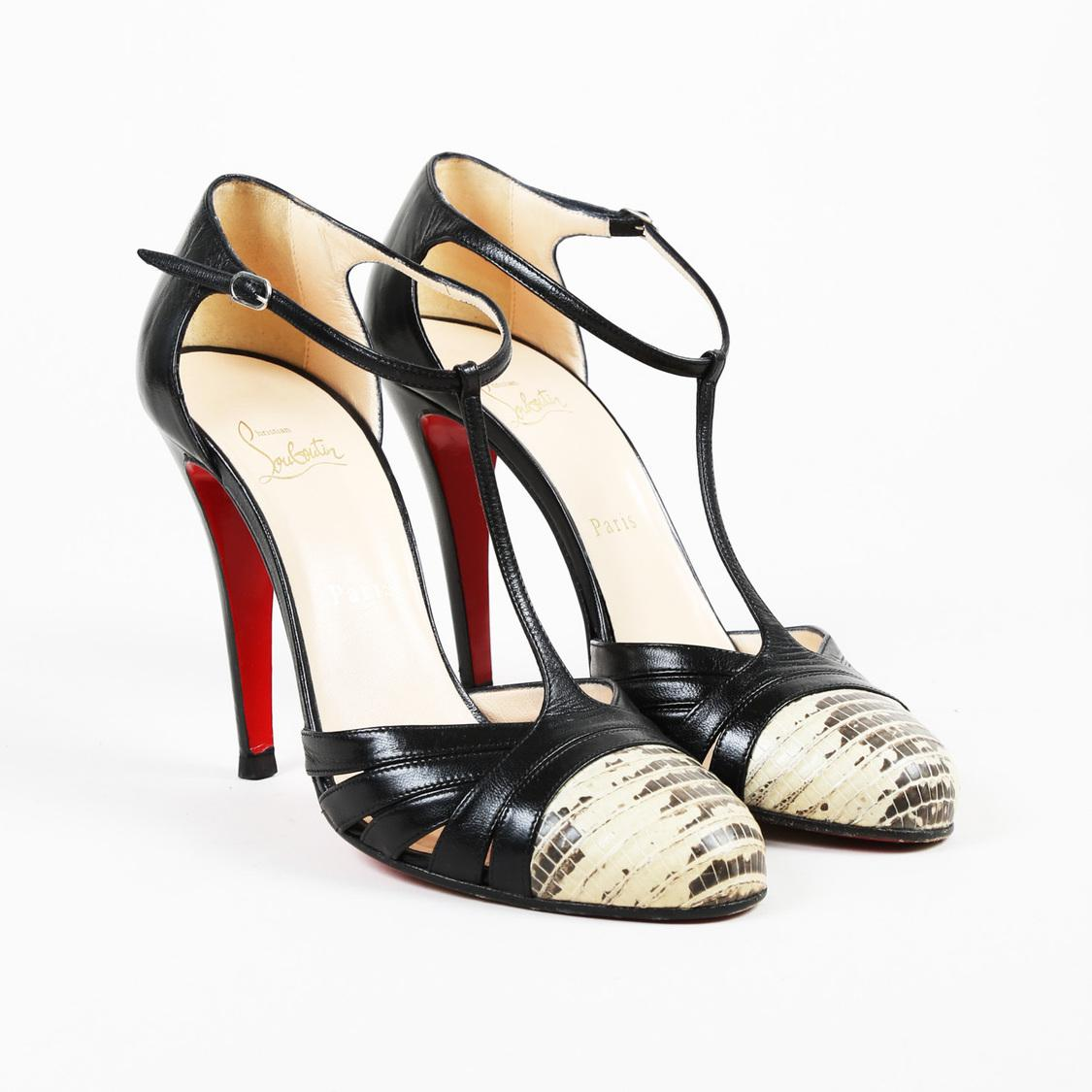 2e6b900b71 christian-louboutin-BeigeBlack-Black-Beige-Leather-Lizard-gino-T-Strap-Pumps.jpeg