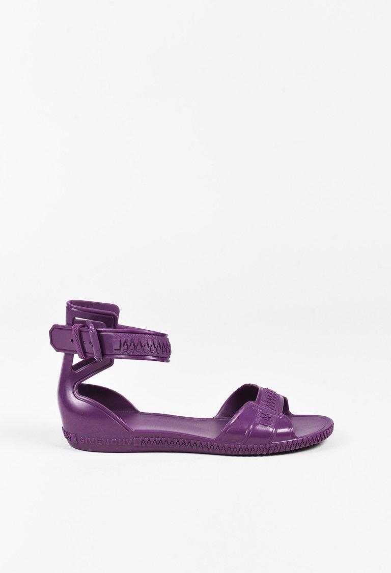 5d117a5ae5c4 Lyst - Givenchy Purple Jelly Open Toe Zipper Ankle Strap Sandals in ...