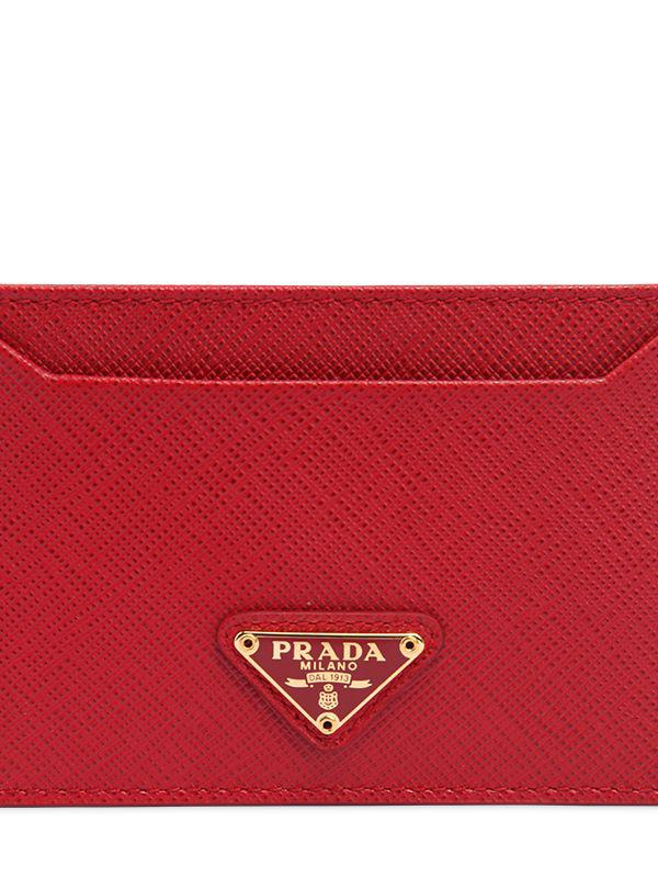 62b326af53b1 Prada Saffiano Leather Card Holder in Red - Save 10.285714285714292% - Lyst