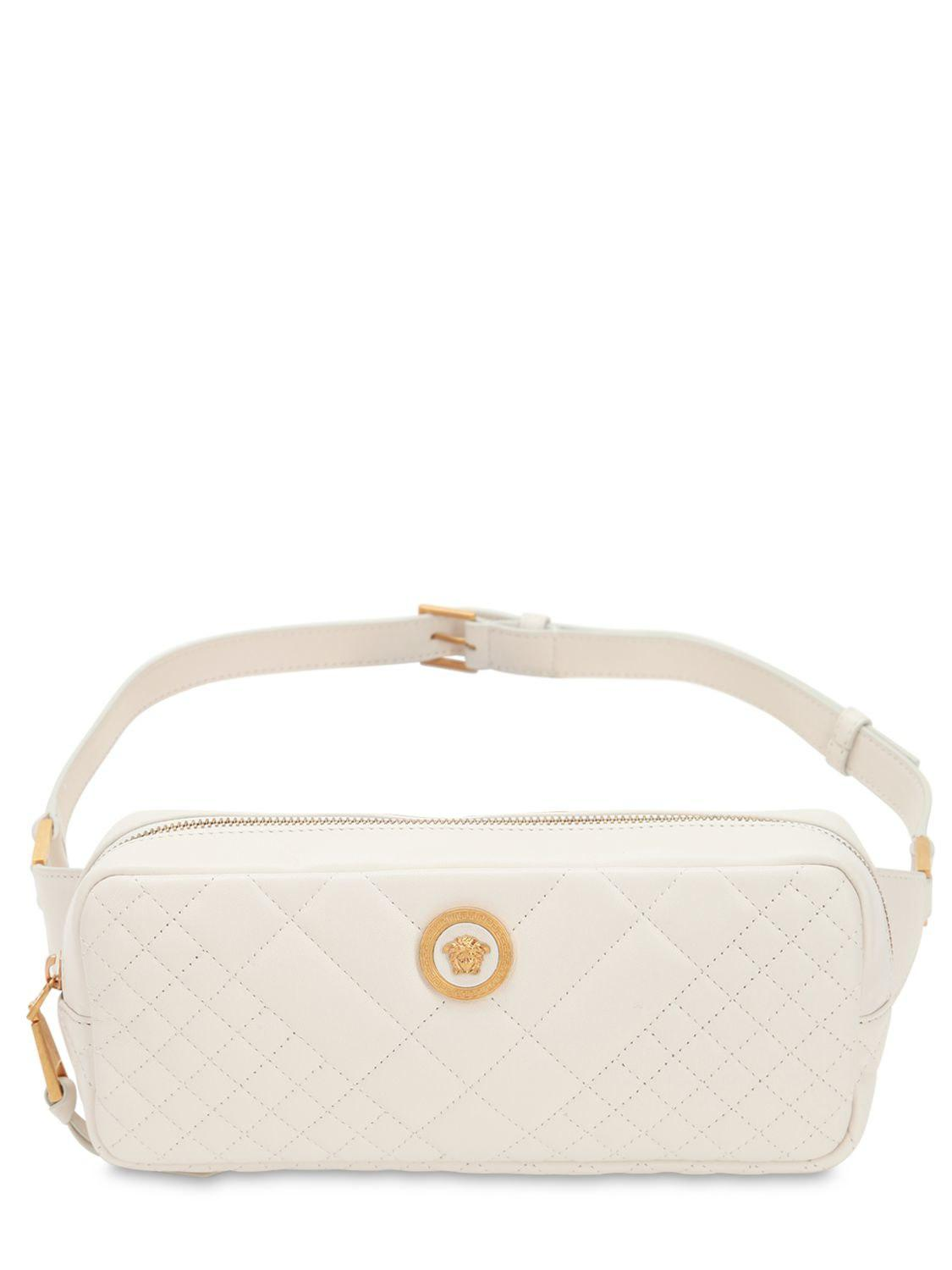 d7b5f76e06bb Versace Icon Quilted Leather Belt Bag in White - Lyst