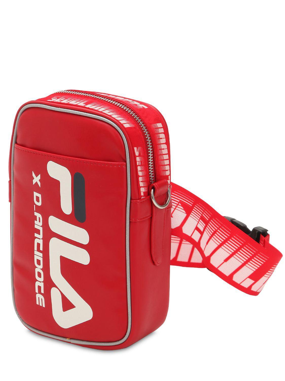 Lyst - D-ANTIDOTE Fila Logo Mini Crossbody Bag in Red for Men d64ecdadf3c7b