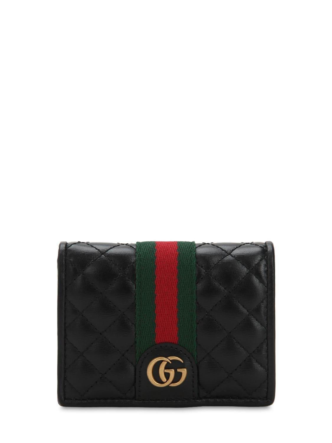 83d302e53849 Lyst - Gucci Quilted Leather Wallet in Black