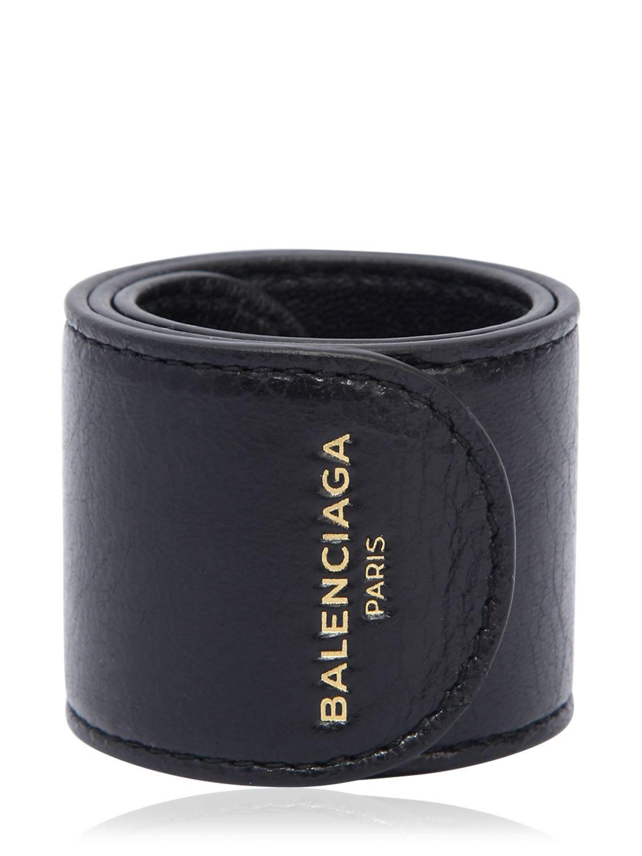 653d6970f775f Balenciaga Cycle Leather Slap Bracelet in Black for Men - Save ...
