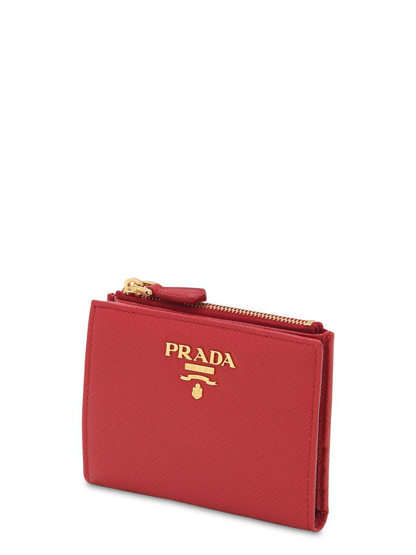 76fad26b6de0 Lyst - Prada Saffiano Leather Wallet in Red
