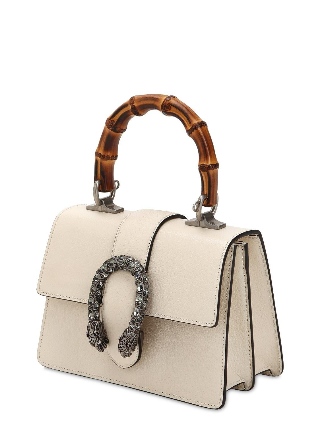 7b4fd6f4c0c Gucci Mini Dionysus Bamboo   Leather Bag in White - Lyst