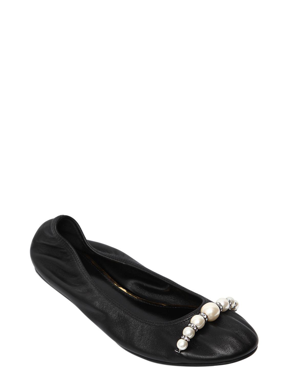 8ca14726b93 Lyst - Lanvin 10mm Embellished Leather Ballerina Flats in Black