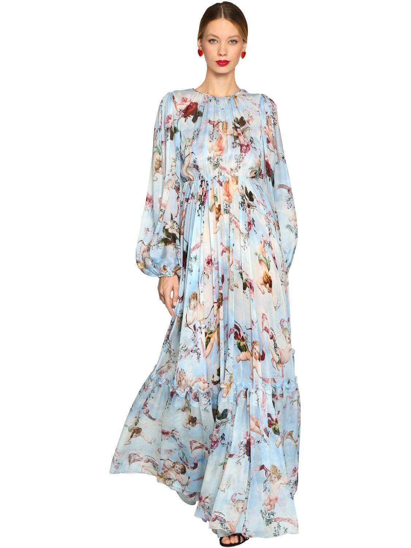 5b26a2c73 Vestido Largo De Chifón De Seda Estampado Ángeles Dolce   Gabbana de ...